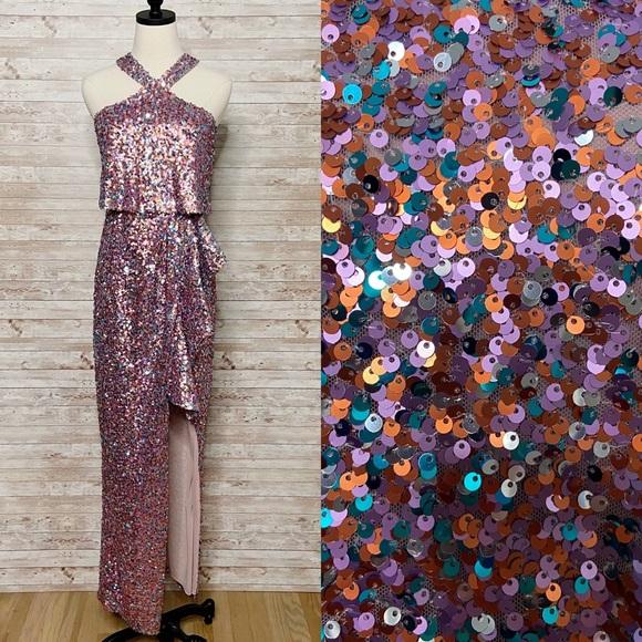 NWT Monique Lhuillier Halter Neck Sequin Gown Sz 2